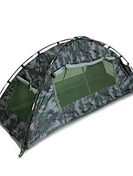 cheap -1 person Backpacking Tent Double Layered Poled Dome Camping Tent Outdoor Rain-Proof, Dust Proof for Hiking / Camping 1500-2000 mm Fiberglass, Oxford 200*100*100 cm