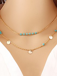 cheap -Women's Multi Layer Hypoallergenic Turquoise Pendant Necklace Layered Necklace  -  Metallic Multi Layer Hypoallergenic Circle Gold Silver