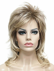 cheap -Synthetic Wig Straight Blonde Layered Haircut Synthetic Hair 100% kanekalon hair / Highlighted / Balayage Hair Blonde Wig Women's Medium Length Capless