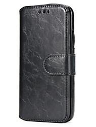 Недорогие -Кейс для Назначение Apple iPhone X iPhone 8 Бумажник для карт со стендом Чехол Сплошной цвет Твердый Кожа PU для iPhone X iPhone 8 Pluss