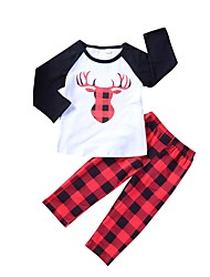cheap -Girls' Daily Going out Animal Print Color Block Plaid Clothing Set, Cotton Spring Fall Long Sleeves Simple Cute Red