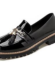 Недорогие -Жен. Обувь Резина Весна / Осень Удобная обувь Мокасины и Свитер На толстом каблуке Белый / Черный / Вино