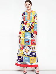 abordables -Femme Grandes Tailles Bohème Ample Robe - Basique, Fleur Couleur Pleine Maxi