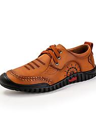 baratos -Homens sapatos Couro Ecológico Primavera Outono Conforto Oxfords para Casual Ao ar livre Amarelo Marron