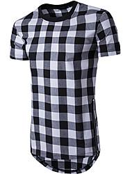 cheap -Men's Cotton T-shirt - Check Round Neck