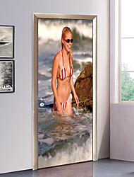 abordables -Nautique Fées Stickers muraux Autocollants muraux 3D Autocollants muraux décoratifs Autocollants de porte, Papier Vinyle Décoration