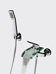 cheap -Contemporary High Quality Wall Mounted Waterfall Handshower Included Ceramic Valve Single Handle Two Holes Chrome, Bathtub Faucet