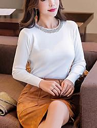 preiswerte -Damen Arbeit Langarm Pullover-Volltonfarbe,Perlenbesetzt