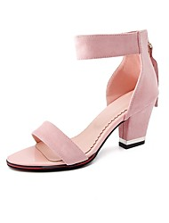 cheap -Women's Shoes Nubuck leather Summer Comfort Ankle Strap Sandals Chunky Heel Open Toe for Dress Party & Evening Black Beige Red Green Pink
