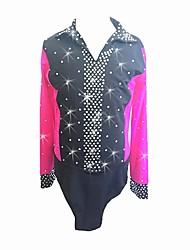 Majica za umjetničko klizanje Muškarci Korcsolyázás Majice Tamno roza Odjeća za klizanje Kreativan Moda Umjetno drago kamenje Dugih rukava