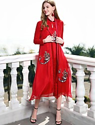 cheap -Blueskybutterfly Women's Vintage Basic Chinoiserie Loose Dress - Solid Color Stand
