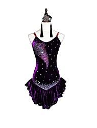 baratos -Dança Latina Vestidos Mulheres Espetáculo Chiffon Aveludado Cristal / Strass Sem Manga Brincos Colares Braceletes