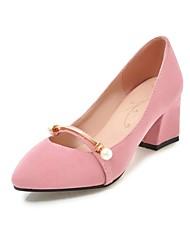 Недорогие -Жен. Обувь Нубук Весна / Осень Удобная обувь Обувь на каблуках На толстом каблуке Заостренный носок Жемчуг Черный / Серый / Розовый