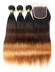 Недорогие -3 комплекта с закрытием Бразильские волосы Прямой 8A Натуральные волосы Омбре 12-26 дюймовый Ткет человеческих волос Лучшее качество Новое поступление Расширения человеческих волос / Прямой силуэт