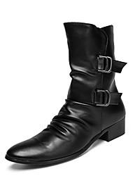 baratos -Homens sapatos Pele Primavera Botas da Moda / Coturnos Botas Botas Cano Médio Preto