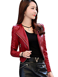 cheap -Women's Vintage Leather Jacket - Solid, Oversized V Neck