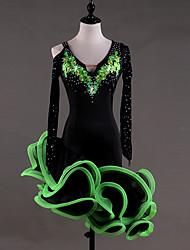baratos -Dança Latina Vestidos Mulheres Espetáculo Elastano Georgette Apliques Cristal / Strass Manga Longa Alto Vestido