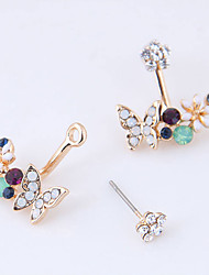 cheap -Women's Front Back Earrings / Ear Jacket - Flower, Butterfly Sweet, Fashion White / Green For Party