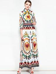abordables -Femme Bohème Balançoire Robe - Basique, Fleur Couleur Pleine Col de Chemise Maxi