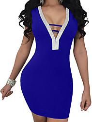 Недорогие -Жен. Облегающий силуэт Оболочка Платье - Сплошной цвет, Открытая спина V-образный вырез Мини