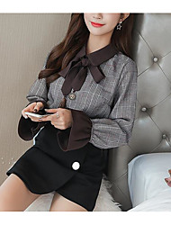 cheap -Women's Daily Vintage Spring Blouse,Solid Plaid Shirt Collar Short Sleeve Cotton Acrylic