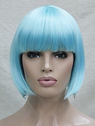 Недорогие -Парики из искусственных волос Прямой Стрижка боб С чёлкой плотность Без шапочки-основы Жен. Синий Карнавальный парик Парик для Хэллоуина