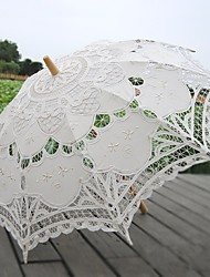 cheap -handmade craft lace umbrella stick straight handle decorative wedding photography props umbrella beige