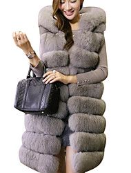 cheap -Women's Daily Going out Street chic Winter Fall Long Vest, Solid Hooded Fox Fur