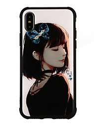 baratos -Capinha Para Apple iPhone X iPhone 8 Antichoque Estampada Capa traseira Desenho Animado Rígida Vidro Temperado para iPhone X iPhone 8