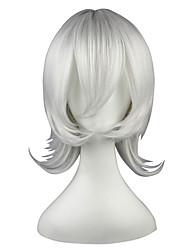 economico -Parrucche sintetiche Liscio Capelli sintetici Bianco Parrucca 13 cm Senza tappo