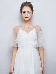 cheap -Sleeveless Tulle Wedding / Party / Evening Women's Wrap With Rhinestone / Embroidery Capelets