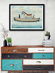 cheap -Abstract Animals Illustration Wall Art,Plastic Material With Frame For Home Decoration Frame Art Living Room