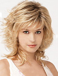cheap -Synthetic Wig Wavy With Bangs Side Part Highlighted/Balayage Hair Ombre Hair Blonde Capless Celebrity Wig 13cm(Approx5inch) Synthetic Hair