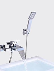 abordables -Moderne Set de centre Jet pluie Soupape céramique Mitigeur deux trous Chrome, Robinet de baignoire