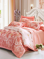 cheap -Duvet Cover Sets Floral 4 Piece 100% Cotton Cotton Jacquard Jacquard 100% Cotton Cotton Jacquard 1pc Duvet Cover 2pcs Shams 1pc Flat Sheet