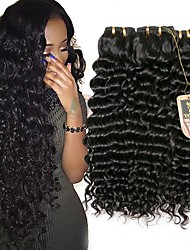 cheap -Brazilian Hair Deep Wave Natural Color Hair Weaves 3 Bundles Human Hair Weaves Natural Black