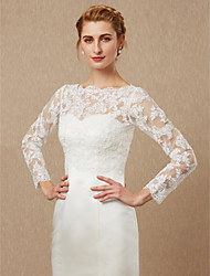 cheap -Long Sleeves Lace Tulle Wedding Party / Evening Women's Wrap With Appliques Button Shrugs