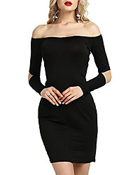 cheap -Women's Basic Slim Sheath Dress - Solid Color Strapless