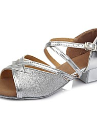 cheap -Latin Shoes Sparkling Glitter / Leatherette Sandal / Heel Training Buckle Chunky Heel Customizable Dance Shoes Silver