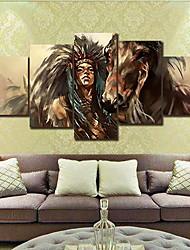 preiswerte -Gerollte Leinwand Modern, Fünf Panele Segeltuch Horizontal Druck Wand Dekoration Haus Dekoration