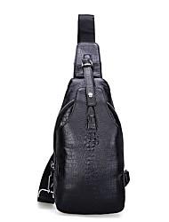 baratos -Homens Bolsas Pele Sling sacos de ombro Ziper Preto / Café