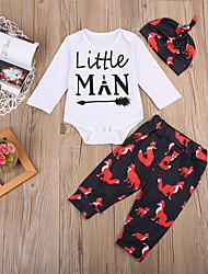cheap -Baby Unisex Daily Sports Print Animal Print Clothing Set,Cotton Spring Fall Cute Casual Long Sleeve White