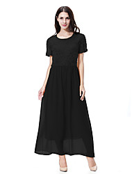 cheap -Women's Boho Loose Dress - Solid Color, Lace Basic Maxi