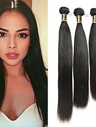 baratos -3 pacotes Cabelo Brasileiro Liso Cabelo Virgem Cabelo Humano Ondulado Tramas de cabelo humano Extensões de cabelo humano / Reto