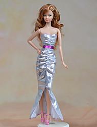 economico -Vestiti Un pezzo Per Bambola Barbie Argenteo Tessile Raso elasticizzato Abito Per Ragazza Bambola giocattolo