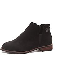 Недорогие -Жен. Обувь Замша Зима Модная обувь Ботинки На низком каблуке Квадратный носок Сапоги до середины икры Пух для Повседневные Черный