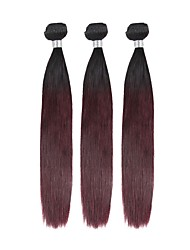 cheap -Brazilian Remy Straight Human Hair Weaves 3pcs Thick Best Quality New Arrival Man Weave Color Gradient # Wedding Party Birthday