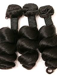 Недорогие -3 Связки Бразильские волосы Свободные волны 8A Натуральные волосы Человека ткет Волосы Ткет человеческих волос Расширения человеческих волос