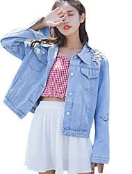 cheap -Women's Vintage Denim Jacket-Solid Colored Shirt Collar
