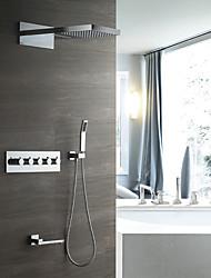 economico -doccia a pioggia a parete contemporanea doccia a pioggia inclusa valvola in ceramica termostatica cinque maniglie a cinque fori cromati, rubinetto